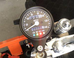 Speedometer warning lights.
