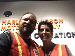 Sandy and I at the Harley Davidson Vehicle Operations Facility in York, PA