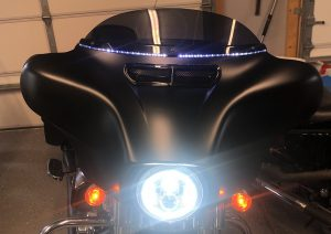 Ciro LED Lighted Windshield Trim and Custom Dynamics Vent Trim on the Street Glide