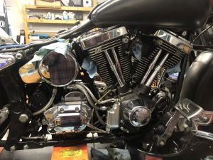 1992 Harley Davidson Heritage Softail on the lift for some maintenance.