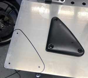 Traced onto a sheet of aluminum