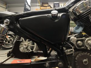Sportster Oil Tank. Painted, mounted, and plumbed up.