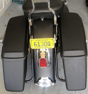 Aftermarket Hard Saddle Bags on the Heritage Softail.