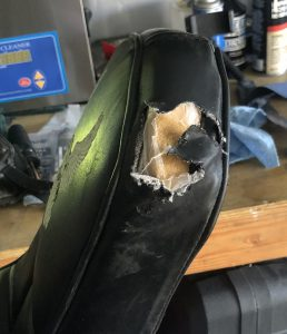 Pretty gnarly tear in the seat.