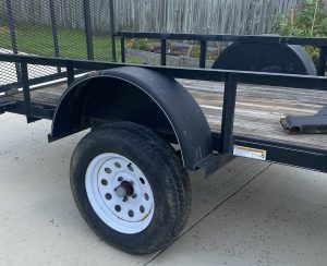 """Axle flip finished. Trailer sits about 4"""" higher."""