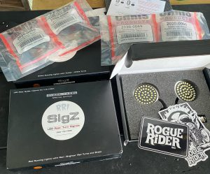 RRI Black Label Sigz LED Turn Signals and Smoked Lenses.