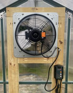 Greenhouse fan and thermostat
