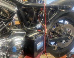 Temporary wiring and battery connection