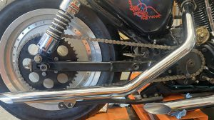 Chain installed and tension adjusted