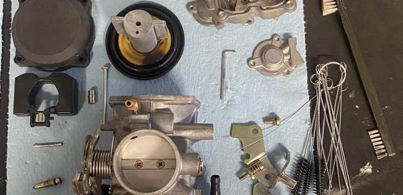 Cleaning the carb for the 90 Sportster…